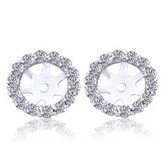 Other Wedding Jewelry 164311: 3 4Ct Diamond Halo Jackets 14K White Gold Fits 1Ct (6-6.7Mm) Studs Earring -> BUY IT NOW ONLY: $739.98 on eBay!