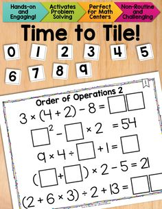 Math Tiles: Order of Operations 2 {Equations with Exponents}. A fun, hands-on way to reinforce the orders of operations, while engaging problem solving skills and develop algebraic thinking. $