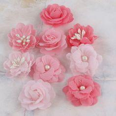 Prima - Lady Godivas Collection - Fabric Flower Embellishments - Strawberry Ice at Scrapbook.com $4.99