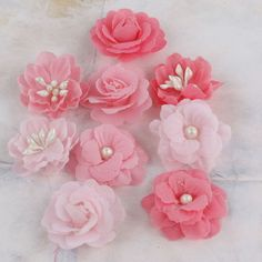 Prima - Lady Godivas Collection - Fabric Flower Embellishments - Strawberry Ice at Scrapbook.com $4.99