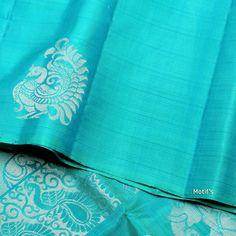 Grab online bright blue soft silk saree made of finest silk & designed with motif's styling apptern all over that gives rich pallu, suitable for special & other occasions. Blue Silk Saree, Kora Silk Sarees, Crepe Silk Sarees, Silk Saree Kanchipuram, Indian Silk Sarees, Pink Saree, Simple Sarees, Trendy Sarees, Fancy Sarees