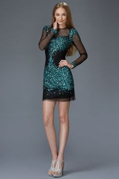 Prima Bella Exclusive Collection G2134 Long Sleeve Jeweled Sheer Illusion Cocktail Dress. Available in Champagne, Teal/Black, Silver/Black