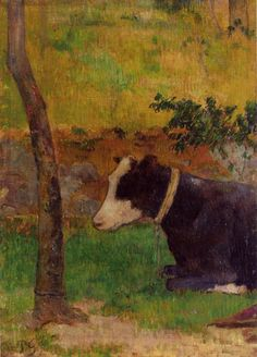 Kneeling Cow by Paul Gauguin in oil on canvas, done in Now in a private collection. Find a fine art print of this Paul Gauguin painting. Paul Gauguin, Henri Matisse, Oil Canvas, Canvas Art, Monet, Georges Seurat, Cow Painting, Impressionist Artists, Cow Art