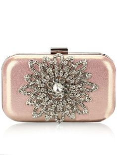 Trendy Dazzling Rhinestones Cell Phone Pocket Chain Clutch Handbag
