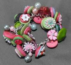 cute buttons and flowers bracelet