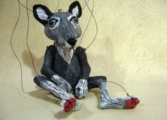 Grey Wolf Marionette handmade OOAK by ofMiceandMarionettes on Etsy. $75.00, via Etsy.