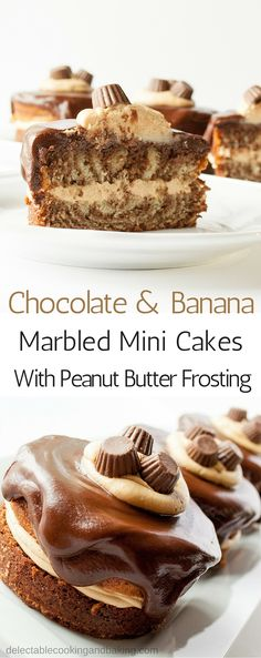 Chocolate and Banana Marbled Mini Cakes with Peanut Butter Frosting at Delectable, www.delectablecookingandbaking.com