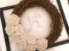 Personalized ivory burlap rosettes wreath by BellaBrideCreations, $32.00