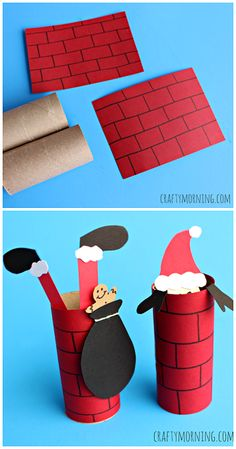 Santa Going Down a Toilet Paper Roll Chimney (Kids Craft) - Crafty Morning - Basteln dekoration Preschool Christmas, Noel Christmas, Christmas Activities, Christmas Crafts For Kids, Christmas Projects, Holiday Crafts, Holiday Fun, Homemade Christmas, Christmas Ornaments