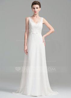 A-Line/Princess V-neck Sweep Train Chiffon Lace Wedding Dress With Ruffle Beading Sequins Bow(s) (002076027)