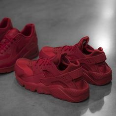 "The women's Nike Air Huarache Run ""Gym Red"" is available at kickbackzny.com."