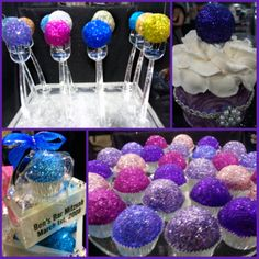 Edible Glitter Desserts. Love the tasting fork cake pops. (no recipes, links to sources to buy the glitter and the tasting fork tray)