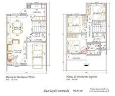 projeto de sobrado com 90 m²