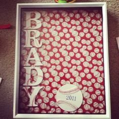 Baby baseball shadow box....going to place a onesie inside that this little guy wore ;)
