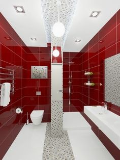 Bathroom Red bathroom tile idea - use the same tile on the floors and the walls