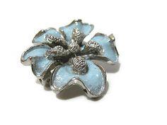 Small Light Blue Enamel Vintage Flower Brooch by SharkysWaters, $12.00  Unsigned.