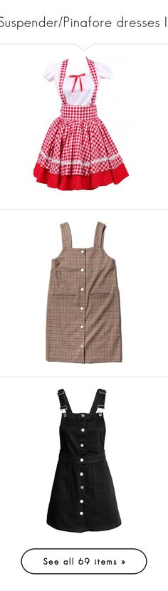 """""""Suspender/Pinafore dresses II"""" by ciel-du-sommeill on Polyvore featuring dresses, one piece, skirts, brown dresses, checked dress, checkered dress, check print dress, snap dress, overalls y black"""