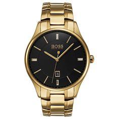 Hugo Boss Men's Governor Gold-tone Stainless Steel Bracelet Watch In Black Hugo Boss Watches, Brand Name Watches, Watches For Men, Hugo Men, Hugo Boss Man, Bracelet Making, Bracelet Watch, Boss Black, Stainless Steel Bracelet