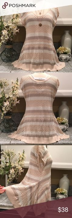 Free People Summer Knit Top Super Cute Hi Low knit short sleeve top.  Striped cool light tone colors.  In excellent condition.  Free People Tops