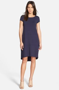 Eileen Fisher Bateau Neck Cap Sleeve Dress (Regular & Petite) available at #Nordstrom