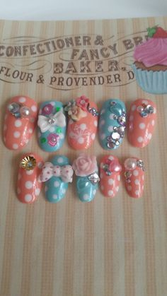Press On Nails Kawaii Hime Gyaru Japanese Pink Blue Polka Dot