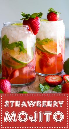 The PERFECT summertime cocktail! This Fresh Strawberry Mojito features muddled f… The PERFECT summertime cocktail! This Fresh Strawberry Mojito features muddled fresh strawberries and sugar, sweet mint and tart lime with the perfect hit of light rum! Cocktail Ginger Ale, Cocktail Drinks, Beach Cocktails, Vodka Cocktails, Martinis, Wine Drinks, Refreshing Drinks, Summer Drinks, Summer Drink Recipes