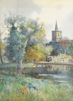 A view of All Saints Carshalton, across the pond, by watercolourist William Tatton Winter (1855-1928). This view is very popular with artists.