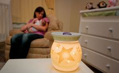 Our Mid-Size Scentsy Nursery Warmers use a 20-watt light bulb to gently warm one of over 80 long-lasting scents of our Authentic wax. Safe around children and pets. www.taraacord.scentsy.us       Great opportunity to make a full time income working part time at home!