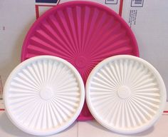 """3 TUPPERWARE REPLACEMENT LIDS Pink White Round #881A-2 Snap On 10.5"""" #Tupperware"""