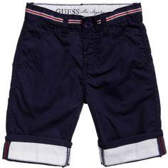 Boys Navy Blue Chino Shorts #Guess Inc #chinos #boys fashion #summer 2014