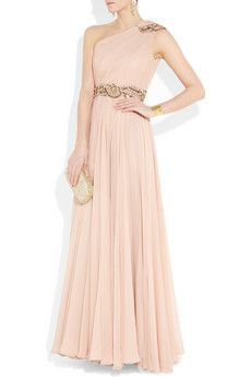 asymmetrical peach gown