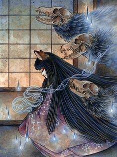 Fox Spirit Kitsune Demon Yokai Japanese Art by TeaFoxIllustrations Japanese Mythology, Japanese Folklore, Japanese Art, Japanese Style, Japanese Yokai, Fuchs Illustration, Art Et Design, Fox Spirit, Drawn Art