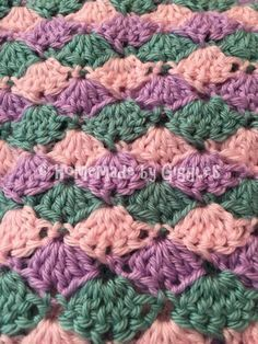 How to make this Mermaid Tail Blanket.  FREE!  Crochet pattern and video linked.  Homemade by Giggles.  Colors.