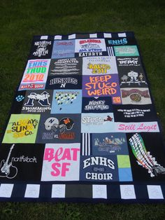 High School and Swimming T shirt Memory Quilt! The perfect way to save your T Shirts and put them together into one cuddlely quilt! www.mossembroidery.com