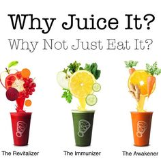 Why Juice? Why not just eat raw fruits and veggies? Because we simply aren't getting enough fruits and vegetables into our diets on daily basis and in their raw from. That's why we juice, because it's a quick and tasty way of packing in all the vitamins, minerals, nutrients and live enzymes that we need for optimum health. Live Life Juiced!