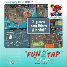 Geography Drive USA™ - Surprisingly addictive US geography quiz. Full review at: http://fun2tap.com/index.cfm#id2177