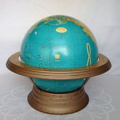 "Retro Old School Vintage Cram's 12"" Lift Off Globe Reversible Metal Cradle/Stand #Crams"
