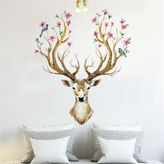 Xmas Reindeer Removable Mural Home Wall Stickers Decals
