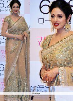 Bollywood Sri Devi Beige Net Sequins Work Saree