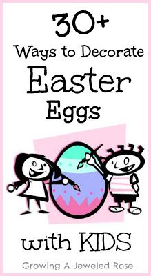 Decorating Easter Eggs with kids. Lots of fun ideas! Could pick a different activity each year depending on what interests the child(ren)