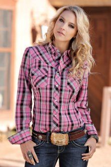 Western Shirts : Pink Plaid Snap Shirt - Cruel Girl