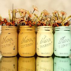 Painted and distressed mason jars, via houzz