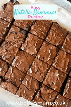 These Easy Nutella Brownies are fantastically simple and wonderfully tasty. They are rich, moist, soft and gooey, everything the best brownies should be, with added Nutella wonderfulness! Chocolate Brownie Recipe Easy, Easy Nutella Brownies, Nutella Cake, Easy Brownie Recipes, Gooey Brownies, Nutella Cookies, Chocolate Brownies, Easy Desserts, Delicious Desserts