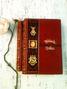 Red and Gold Books,Wedding Decor,Hipster Decor, Ornate Books , Red and Pink Books