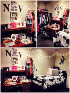 cute dorm room idea by DenyMacMart College Apartments, College Dorm Rooms, Dorm Life, College Life, College Dorm Decorations, Dorm Room Organization, Cute Dorm Rooms, My New Room, House