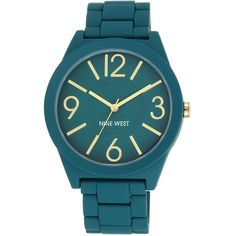 Nine West Colored Rubberized Watch ($34) ❤ liked on Polyvore featuring jewelry, watches, teal, nine west, rubber wrist watch, black face watches, black dial watches and rubber jewelry
