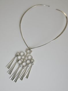 David-Andersen Norway Sterling SilverModernist Pendant and Choker Necklace