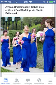 are you thinking more pinks / oranges? Amsale cobalt blue bridesmaid dresses