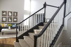 DIY: How to Stain and Paint an OAK Banister, Spindles, and Newel Posts (the shor. DIY: How to Stain and Paint an OAK Banister, Spindles, and Newel Posts (the shortcut method.no sanding needed! Painted Banister, Wood Railings For Stairs, Oak Banister, Stair Railing Design, Stair Handrail, Wooden Stairs, Banisters, Basement Stairs, Painted Staircases