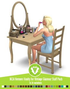 Around the Sims 4 | Custom Content Download | Objects | IKEA Hemnes Vanity for Glamor Vintage stuff pack